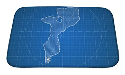 Amazon gear new memory foam bath rug mozambique blueprint map gear new memory foam bath rug mozambique blueprint map template with capital city maputo marked malvernweather Images