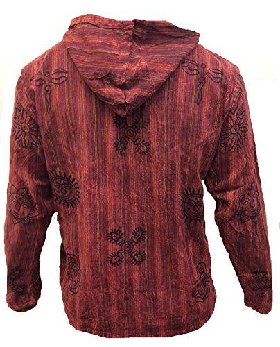 Chemise Délavéà Shopoholic Bordeaux Capuche Hippie père Hommes Rayures Fashion À Grand xqwR04O6w