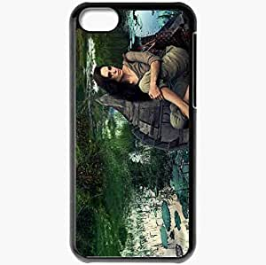 Personalized iPhone 5C Cell phone Case/Cover Skin Angelina jolie boat swamp brunette Actress Black