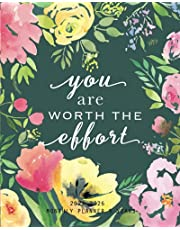 2022-2026 Monthly Planner 5 Years- You Are Worth the Effort: 60 Months Yearly Planner Monthly Calendar, Floral Agenda Schedule Organizer and Appointment Notebook with Federal Holidays and Inspirational Quotes