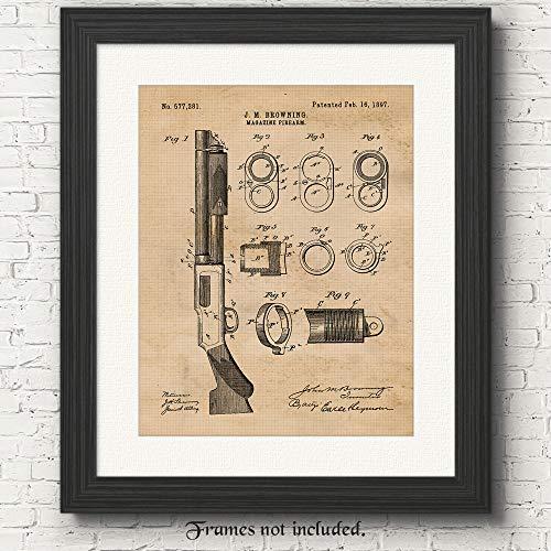 Original Remington Guns Firearm Patent Art Poster Prints - 11x14 Unframed - Great Wall Art Decor Blueprints Gifts for Firearm Collectors, Man Cave, Garage, Big Boy's Room from Stars Arts