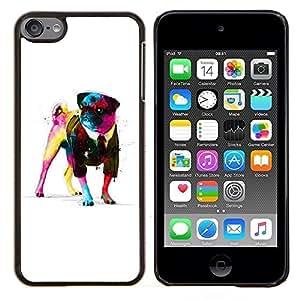 EJOOY---Cubierta de la caja de protección para la piel dura ** Apple iPod Touch 6 6th Touch6 ** --Pug neón Arte de la pintura de la acuarela del arte del perro