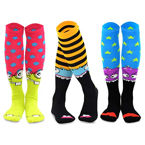 TeeHee Novelty Cotton Knee High Fun Socks 3-Pack for Junior and Women (Monster) sock size 9 - -