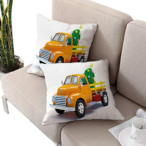 Josepsh Christmas Square Stool Cushion Cover,Yellow Vintage Truck and Tree Design with Star Topper Old Farm Vehicle White Yellow Green W24 xL24 2pcs Cushion Cases Pillowcases for Sofa Bedroom Car