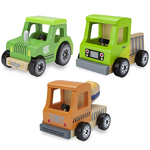 (Wooden Wheels Tough Jobs Pack: Natural Beech Wood Tractor, Pickup Truck, and Cement Mixer )