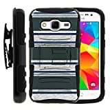 Samsung Galaxy Core Prime Case Samsung Galaxy Core Prime Holster Two Layer Hybrid Armor Hard Cover with Built in Kickstand and Unique Graphic Images for Samsung Galaxy Core Prime G360 (Boost Mobile) from MINITURTLE | Includes Screen Protector - Blue Green Stripes