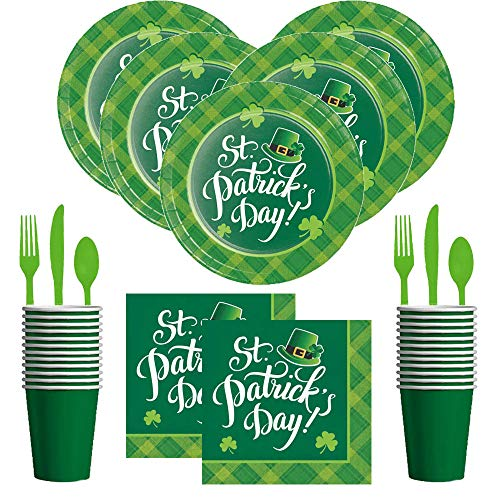 St Patricks Day Party Supplies Pack - Shamrock Plaid - Premium Dinner Plates and Napkins, Cups and Silverware Bundle (Serves 16) ()