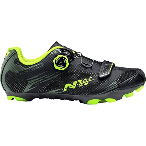 Northwave Scorpius 2 Plus Cycling Shoe - Mens Black Military/Yellow Fluo, 45.0