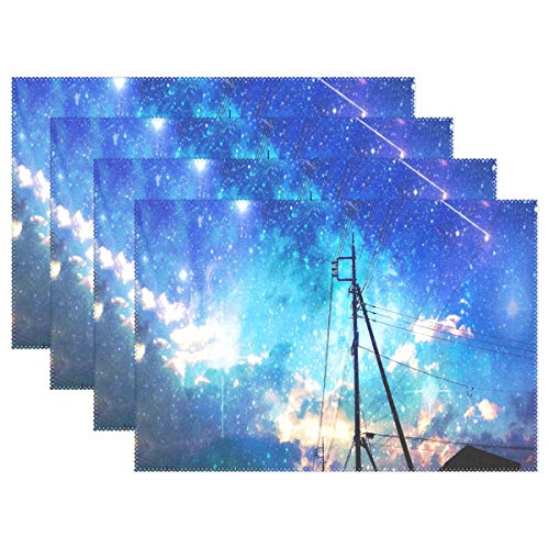 (Heat Resistant Placemats for Kitchen Table Mats for Dinning Room,Starry Sky Over The City Washable Insulation Non Slip Placemat 12x18 inch)