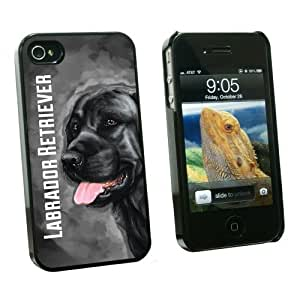 Graphics and More Black Labrador Retriever Gray Grey - Dog Pet - Snap On Hard Protective Case for Apple iPhone 6 4.7 - Black - Carrying Case - Non-Retail Packaging - Black
