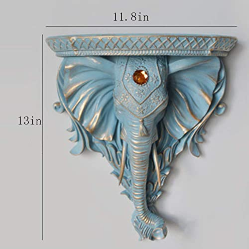 TOOY decoration decoration doll statue creative elephant head wall decoration wall decoration solid wall hanging wall decoration rack partition wall shelf decoration Archaize pale blue
