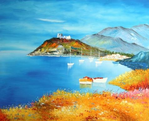 The High Quality Polyster Canvas Of Oil Painting 'the Beautiful Coast Scenery' ,size: 10x12 Inch / 25x31 Cm ,this High Quality Art Decorative Canvas Prints Is Fit For Hallway Decoration And Home Gallery Art And Gifts
