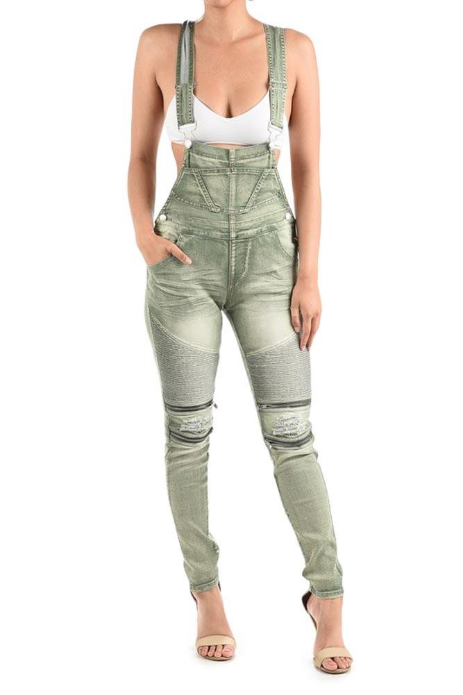 American Bazi G-Style USA Women's Distressed Biker Style Moto Ribbed Thigh Zipper Knee Skinny Denim Overalls RJHO893 - Olive - 3X-Large - EE1G