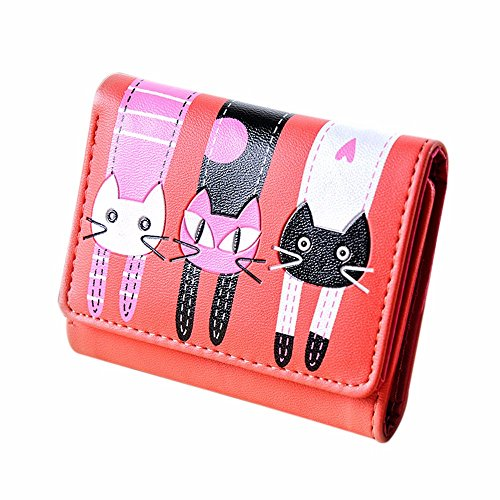 Outsta Women Cat Pattern Coin Purse Short Wallet, Card Holders Handbag Travel Wallet Cartoon Purse Gift (Red)