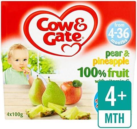 Cow & Gate 4 mess + pera y piña 100% Potes Fruta 4 x 100g: Amazon.es: Bebé