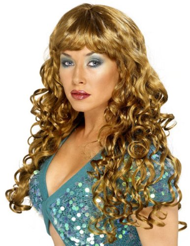 Smiffys Women's Siren Wig, Brown, One Size (Siren Wig Brown)