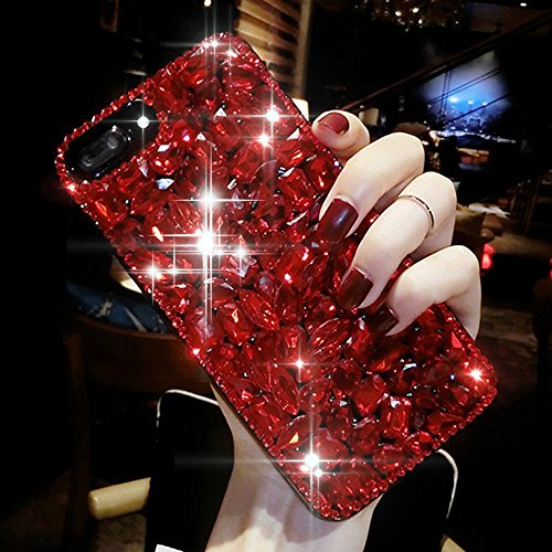 iPhone X Case,iPhone X Diamond Case,iPhone X Cover,ikasus 3D Handmade Bling Rhinestone Diamonds Luxury Sparkle Rhinestones Case Full Crystals Bling Diamond Case Cover for Apple iPhone X,Red