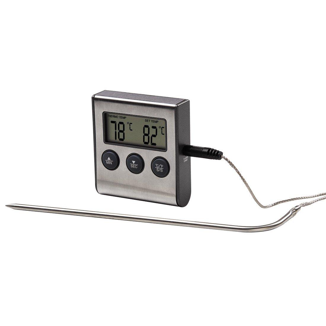 Xavax 2-in-1 digitale braadthermometer (met keukenklok, afneembare temperatuursensor, grillthermometer oventhermometer vleesthermometer)
