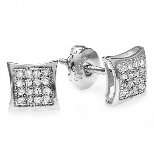 0.05 Carat (ctw) Sterling Silver Real Diamond Kite Shape Mens Hip Hop Iced Stud Earrings 0.05 Ct Real Diamond