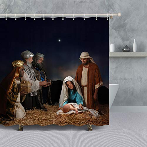 VANCAR Christmas Decor The Nativity Story Birth Of Jesus Shower Curtain For Bathroom Decoration Waterproof Polyester