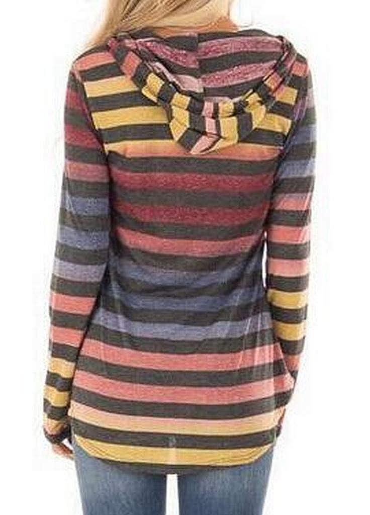 Fubotevic Womens Long Sleeve Gradient Color Stripe Loose Fit Pullover Hoodies Sweatshirt