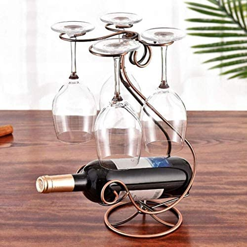 LDM Bottle Rack, Bottle Rack, Floor Bottle Rack, Wrought Iron Free Standing Bottle Rack Upside Down 4 Wine Glasses (Bronze) for Kitchen Bar Cabinet