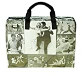 LAPTOP briefcase vintage black & white images, FREE SHIPPING, retro print padded computer work bag upcycled upcycling different smart person vegetarians products eco people enthusiasts enthusiast
