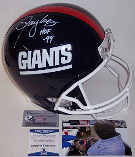 (Lawrence Taylor Autographed Hand Signed New York NY Giants Throwback Full Size Helmet - with Hall of Fame 99 Inscription - BAS Beckett)
