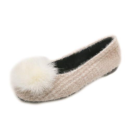 Mujer Pisos Mocasines Flock Shoes Otoño Invierno Slip-on Punta Cuadrada Pluma Decoración Señoras Felpa Exterior Calzado Interior: Amazon.es: Zapatos y ...