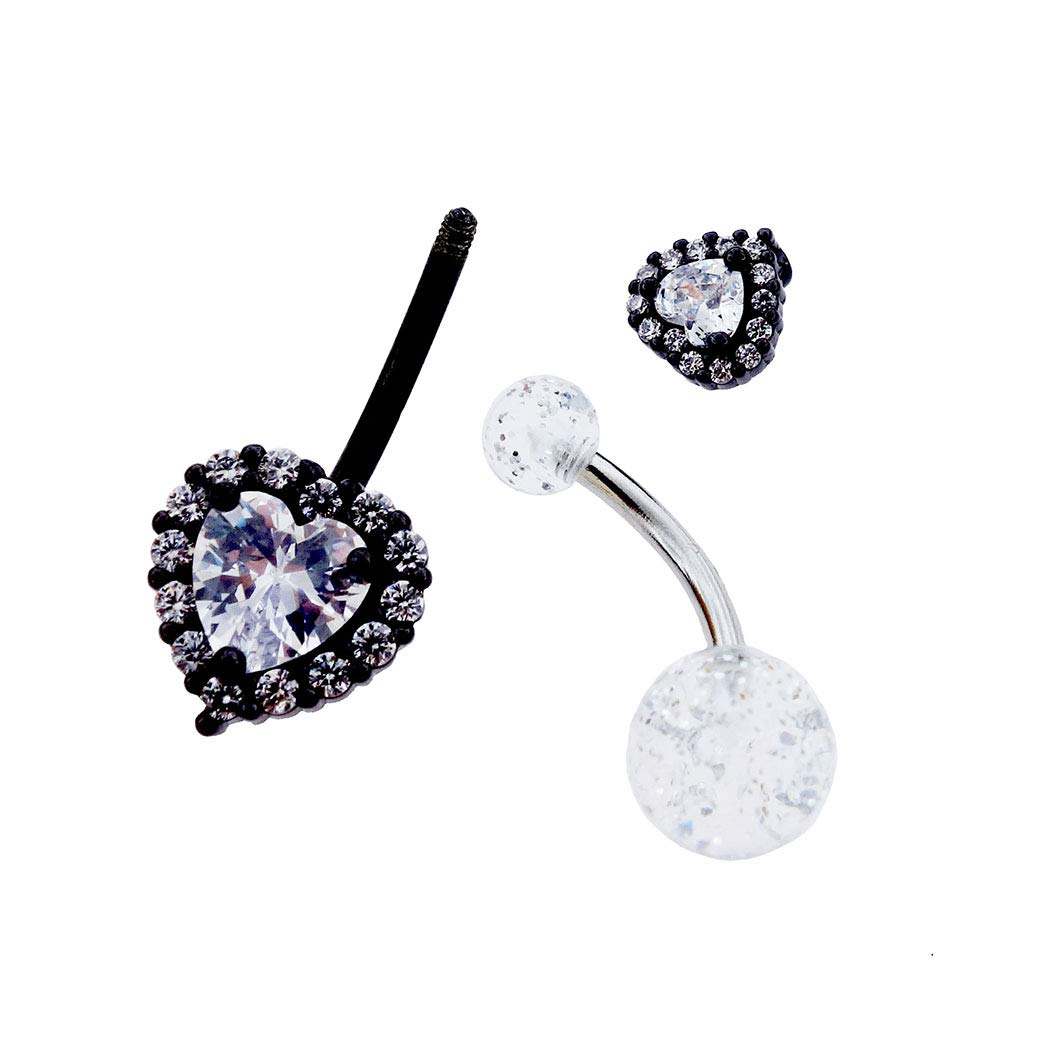 Excepro Piercing Fairyland 316L Surgical Stainless Steel PVC Black Plated White Heartshape Cubic Zirconia Body Jewelry Shiny Belly Button Rings