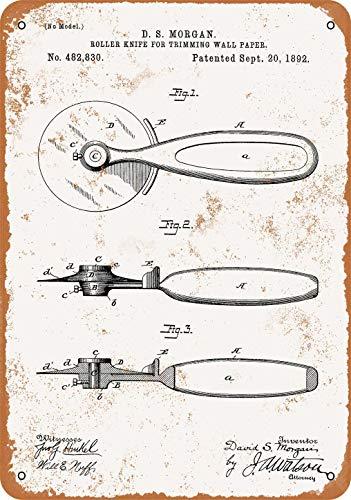 Tin teken 8×12 Inch 1892 Pizza Cutter Patent Vintage Look Metalen Teken