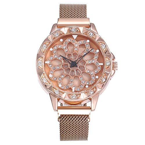 Beedool Women's Watches, Diamond Shining Bling Quartz Ladies Watch Magnetic Buckle Bracelet Watches (3)