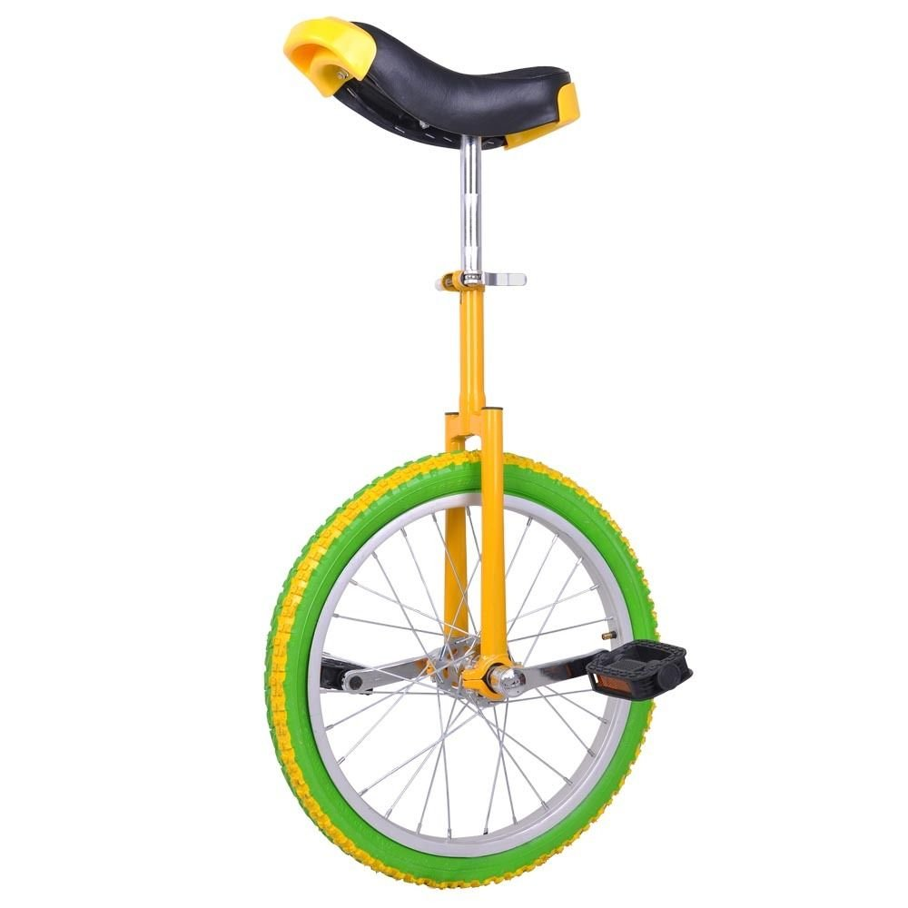 GHP Yellow & Green Manganese Steel 18'' Wheel Skid-Proof Tire Aluminum Rim Unicycle