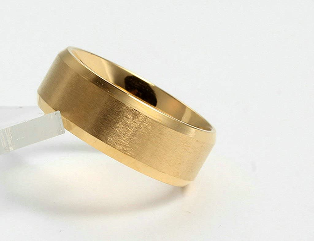 Gold Matte Finished Mens Wedding Band Engagement Ring Epinki 8MM Stainless Steel Ring