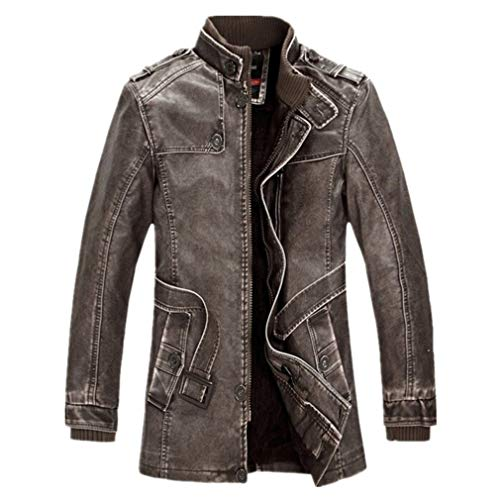 - Oudahood Men Motorcycle Faux PU Leather Jacket Brown 4XL