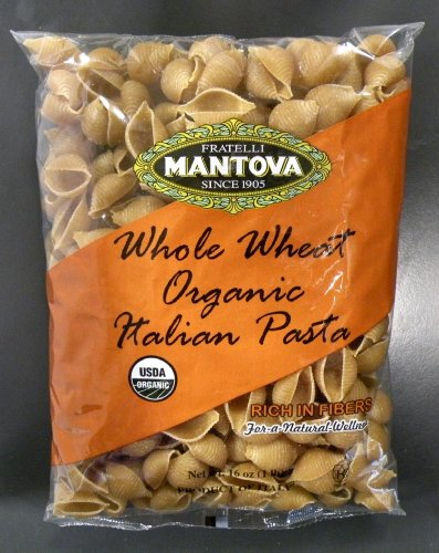 Whole Wheat Shells - Mantova Whole Wheat Organic Italian Pasta Shells (Pack of 6). Rich in fibers for a natural wellness. Made from durum wheat that has become synonymous with flavor, quality, goodness, nutritional value.