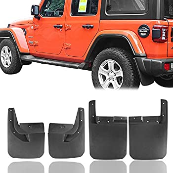 Matler Deluxe Front and Rear Splash Guards Fender Flares Mud Flaps Replace 82215333 82215332AB for 2018 2019 Jeep Wrangler JL