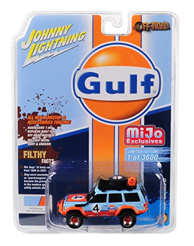 Jeep Cherokee XJ Gulf #4 Off Road with Roof Rack and Accessories Light Blue and Orange Limited Edition to 3,600 Pieces Worldwide 1/64 Diecast Model Car by Johnny Lightning JLCP7152 from Johnny Lightning