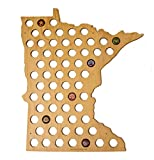 Minnesota Beer Cap Map - MN Craft Beer Cap Holder, Gifts for Him (Natural)