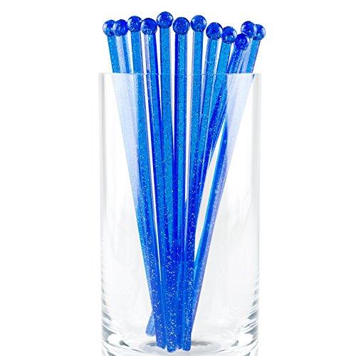 Blue Stir Sticks (Soodhalter Stir Stix Sparkle, 25 Blue Retro Swizzle Sticks, 6 Inch Beverage)
