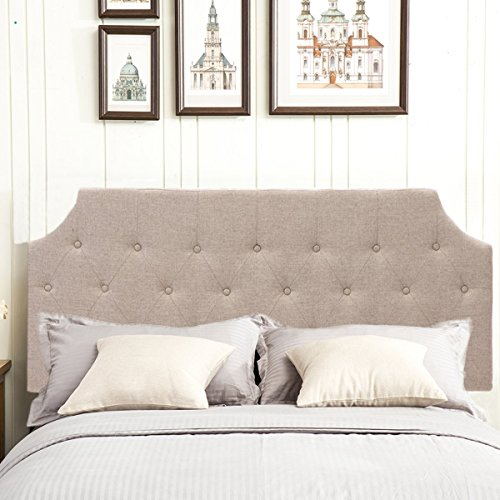 Andeworld Upholstered Linen Headboard Queen/Full Size with Button Tufted in Light Khaki,Queen by Andeworld