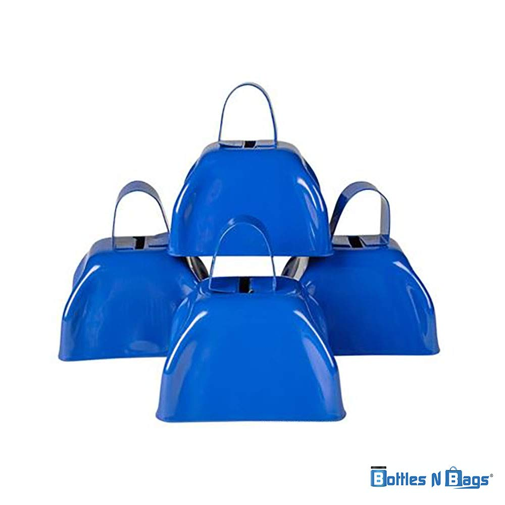 24 3'' Metal Cowbells 12 Red and 12 Blue Perfect for Holiday Parties and New Year's Eve by Bottles N Bags