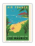 Mauritius (L'ile Maurice) - Mascarene Islands - Air France - Vintage Airline Travel Poster by Maurice Renluc c.1954 - Master Art Print - 9in x 12in