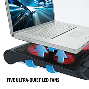 ENHANCE Gaming Laptop Cooling Pad Stand with LED Cooler Fans , Adjustable Height , & Dual USB Port for 17 inch Laptops - 5 Ultra Quiet High Performance Fans 2550 RPM & Built-In Bumpers - Red