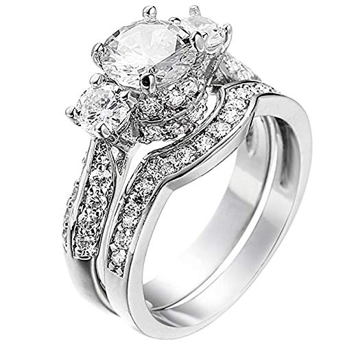 (Metmejiao White Gold 2.5Ct Round White AAA Cz Wedding Band Engagement Ring Set for Women (10))