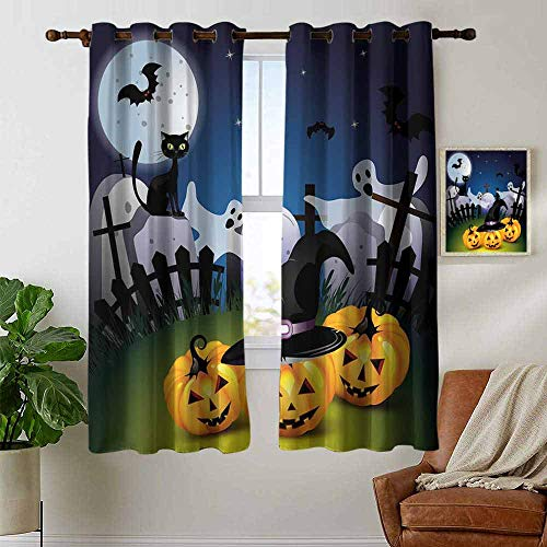 petpany Customized Curtains Halloween,Funny Cartoon Design with Pumpkins Witches Hat Ghosts Graveyard Full Moon Cat,Multicolor,Blackout Thermal Insulated,Grommet Curtain Panel 1 Pair 42