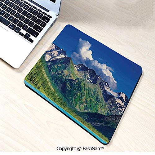 Non-Slip Rubber Mouse Pads Lake in Altai Mountains Highlands Clouds Sunny Summer Day Travel Attraction for Computers Laptop Office(W9.85xL11.8)