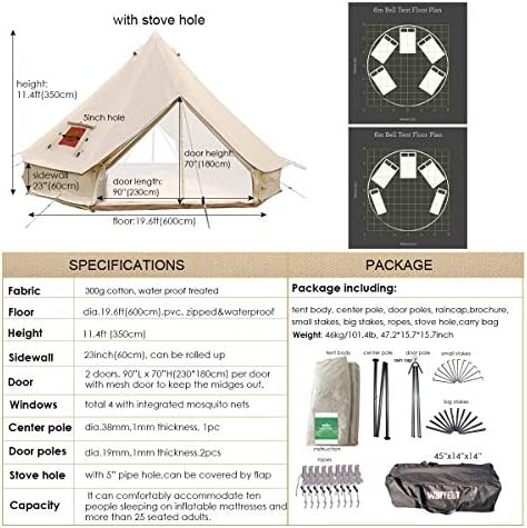 UNSTRENGH Large Beige Luxury 4-Season Camping Cotton Canvas Bell Tent Double Doors Camping Hunting Tent with Stove Jack Hole, Cable Hole
