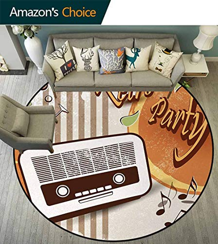 70S Party Non-Slip Area Rug Pad Round,Retro Party Themed Artwork Old Radio Cocktails Floral Details Print Protect Floors While Securing Rug Making Vacuuming Diameter-51 Inch,Orange Dark Brown Beige -