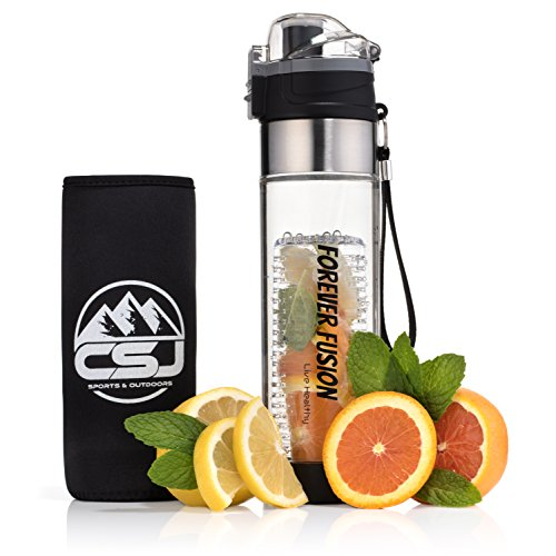 CSJ's Forever Fusion Water Bottle - The Best Sport Infuser On The Market - Infuses Flavor With Fruit, Herbs, and Vegetables, FREE BONUS Insulated Cover and Recipes, NEW Bottom Removable Filter